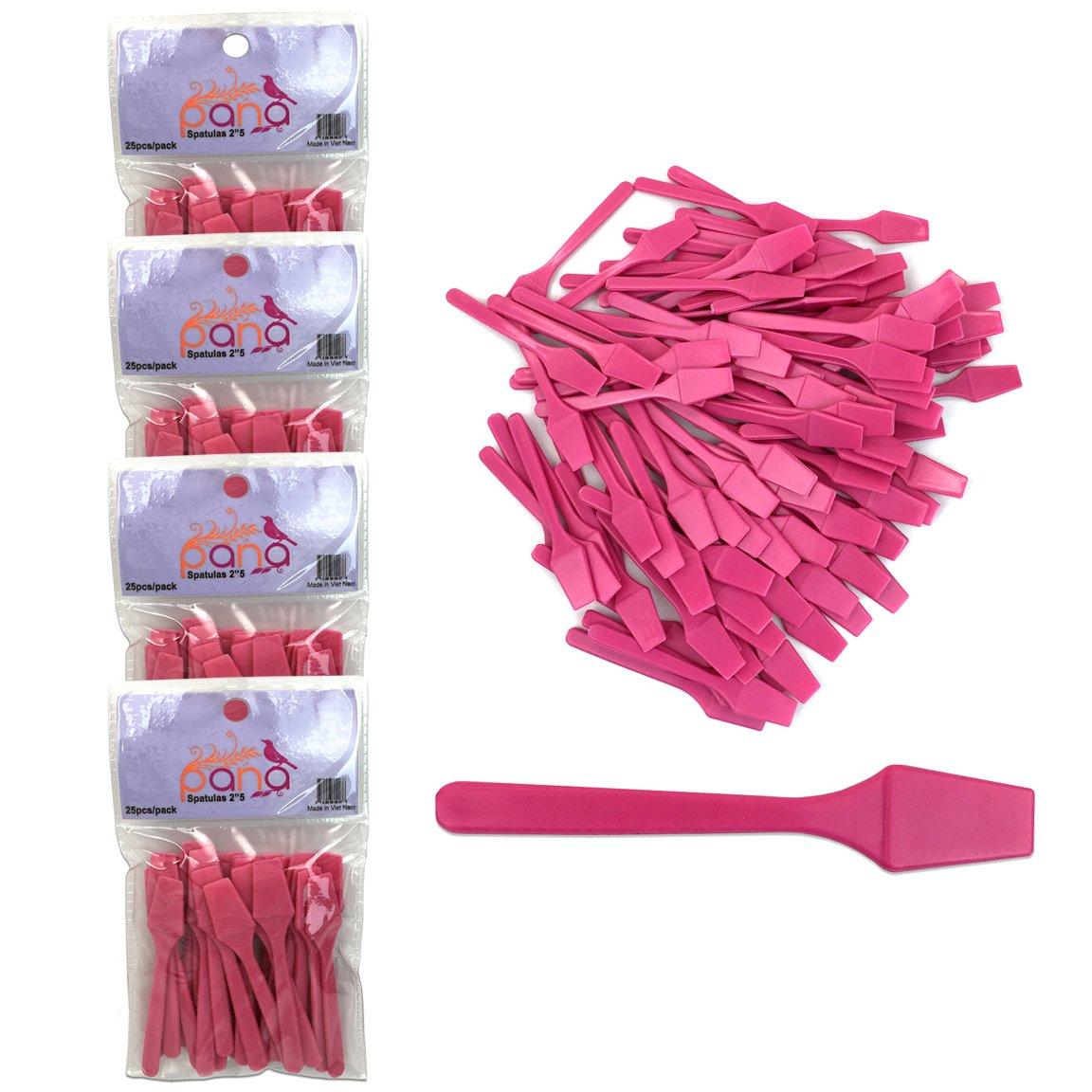 "Beauticom Pana Brand (Pink Color) (4 Packs of 25pcs = 100 Pieces) Cosmetic Make Up Disposable Plastic 2.5"" Spatulas Skin Care Facial Cream Mask Spatula"