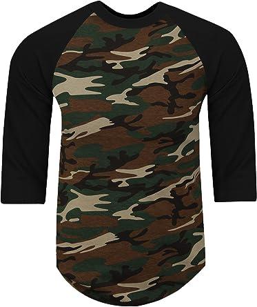 Mens T-Shirts Camo Baseball Military RAGLAN Short Sleeve Tee Plain Team Sport