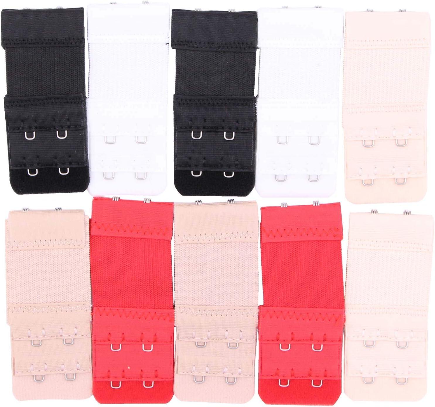 Rojo Marr/ón Oscuro Rosa Piel Oscuro Bye Bra Extensores de Sujetador ultra-suaves 3 ganchos extremos flexibles comodos adjustables Colores Diferentes: Piel Claro Blanco Negro Marr/ón Claro