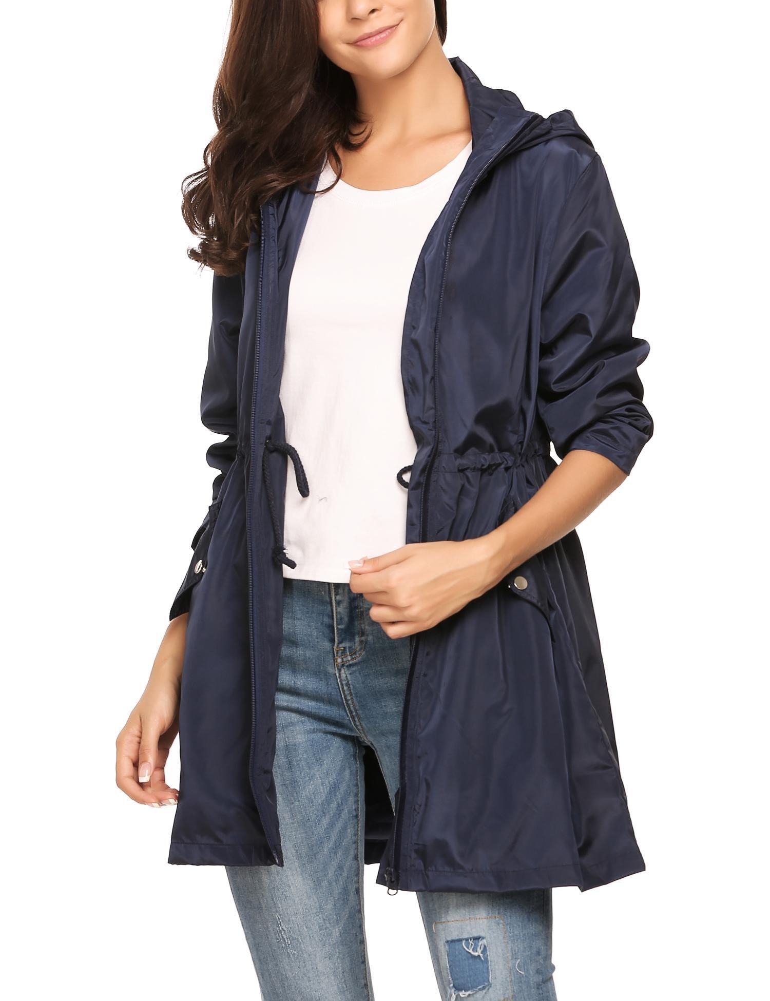 Dethler Women Raincoat Waterproof Windproof Lightweight Outdoor Jacket Zip-up Drawstring Hooded