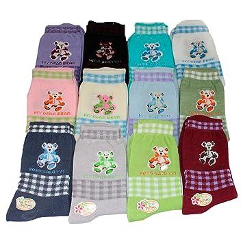 Pack de 12 pares de calcetines infantiles dibujo oso 20-25 cm: Amazon.es: Hogar