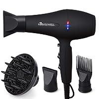 Basuwell Sèche Cheveux Professionnel 2100W, Salon Sèche-Cheveux avec Diffuseur,Peigne et Buse, Puissant AC Moteur Noir
