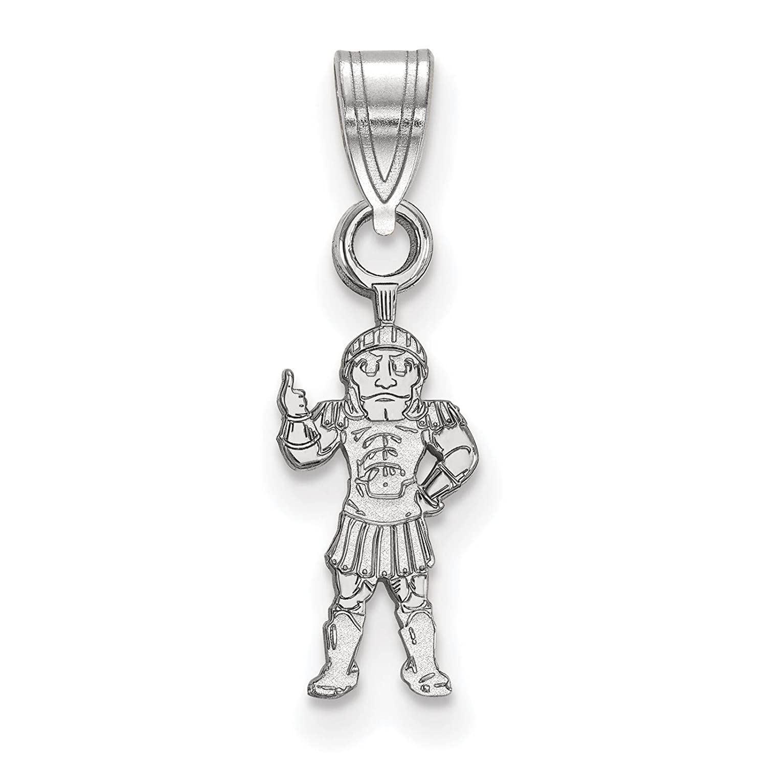 925 Sterling Silver Rhodium-plated Laser-cut Michigan State University Small Pendant