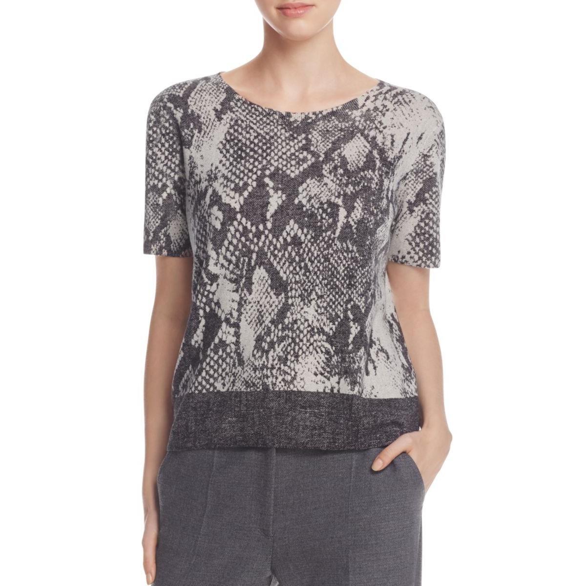 BOSS Hugo Boss Womens Wool Printed Casual Top Gray XL
