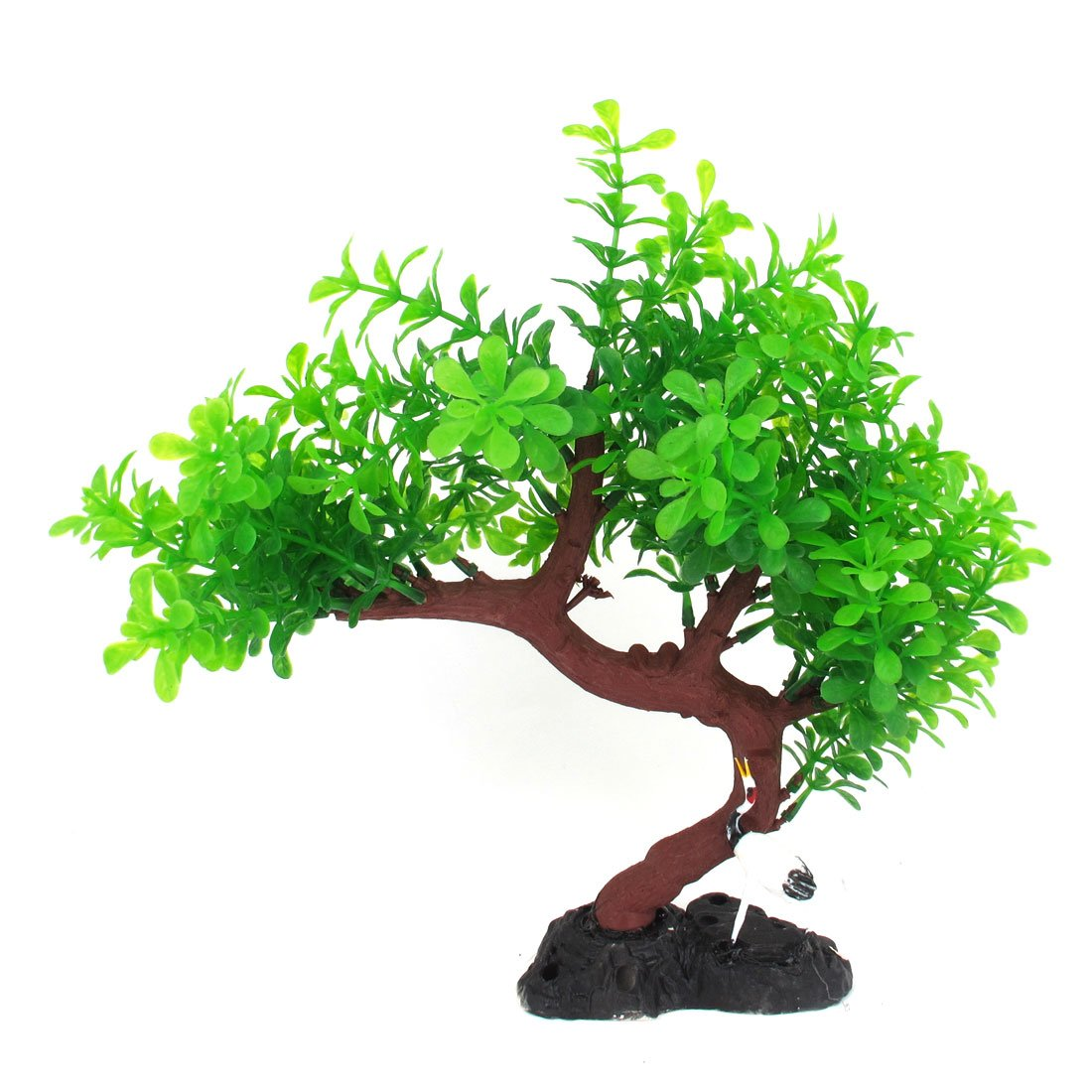 Uxcell a13061700ux0450 Aquarium Green Leaf Burgundy Tree Branch Plant 10.6-Inch Height Bird Decor