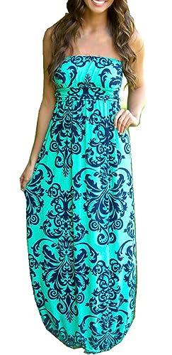 Strapless Maxi Dress Vintage Floral Print