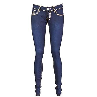 Simply Chic Outlet SCO New Womens Super Soft Skinny Stretch Jeans Ladies Dark Blue Bold Stitching Denim