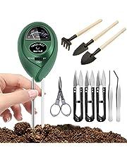 9 Pcs Bonsai Tools with Soil Moisture Meter, 3-in-1 Moisture Sensor/Light/Ph, Include Pruner, Folding Scissors, Mini Rake, Bud & Leaf Trimmer Set