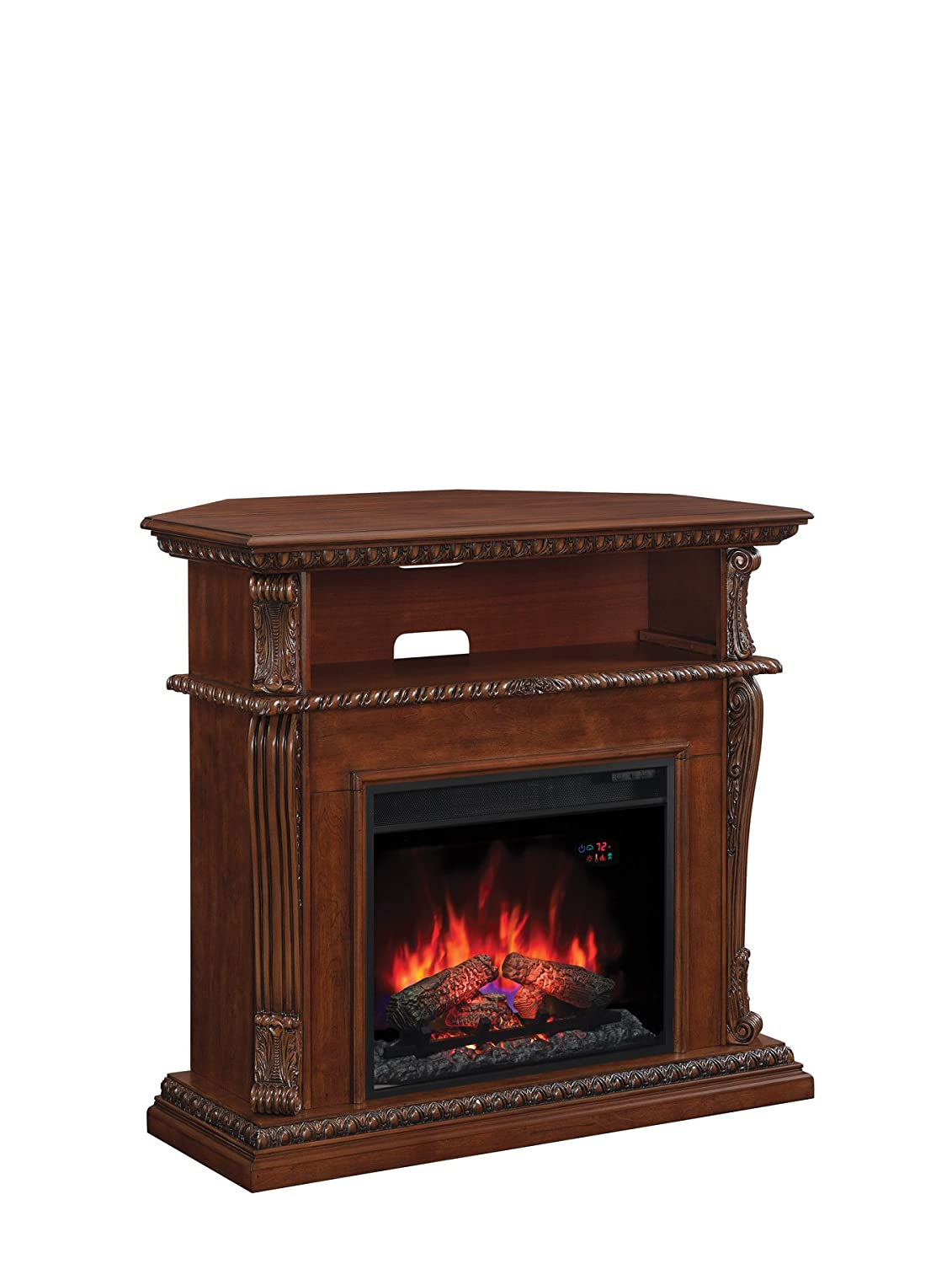 corner tv stand with fireplace. amazon.com: classicflame 23de1447-w502 corinth wall or corner tv stand for tvs up to 47\ tv with fireplace