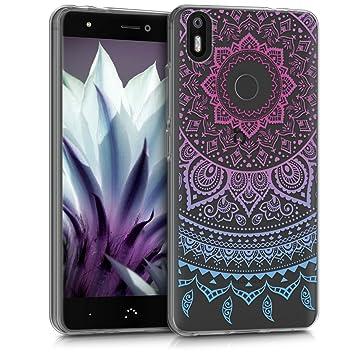 kwmobile Funda para bq Aquaris X/X Pro - Carcasa de [TPU] para móvil y diseño de Sol hindú en [Azul/Rosa Fucsia/Transparente]