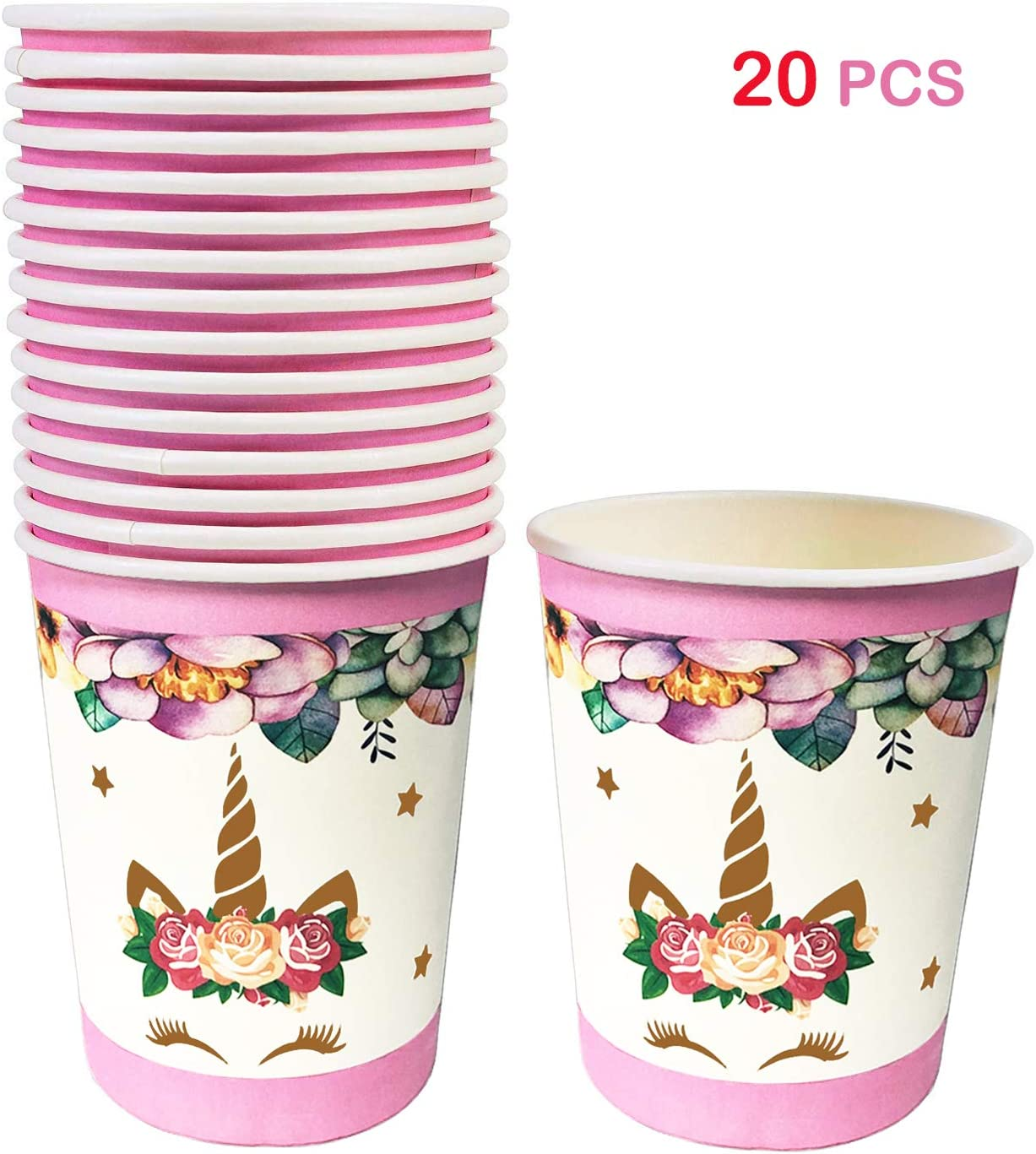 Unicorn Paper Cups for 20 Guests
