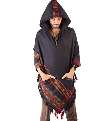 Handmade Black Hooded Mens Poncho Cashmere Wool with Large Hood and Pockets  Jungle Primitive Gypsy Festival Mexican Tribal Embroidered Celtic Earthy