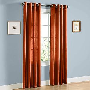 Gorgeous Home 1 Panel Solid Brick Orange SEMI Sheer Window Faux Silk Antique Bronze Grommets Curtain Drapes MIRA (108