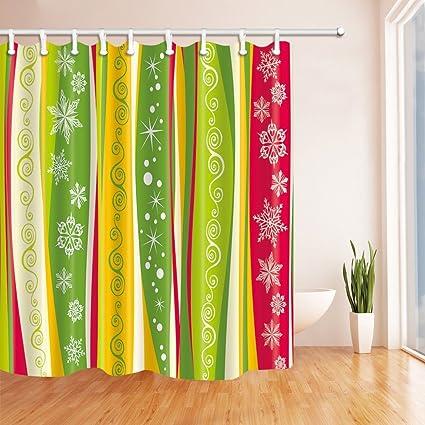 Rrfwq Color Bar Decor Colorful Christmas Snowflakes Shower Curtain Mildew Resistant Polyester Fabric Bathroom Decorations Bath