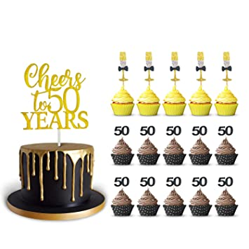 50th Birthday Cake Topper And 50 Cupcake Wine Glass Toppers Glitter Cardstock Set Cheers To