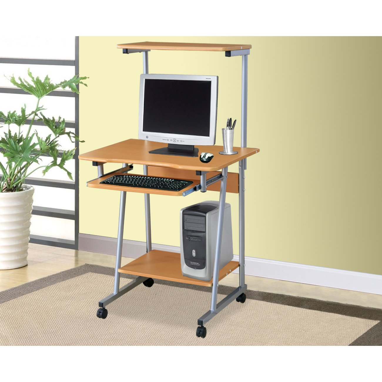 Home Source Johnson Cherrry Computer Cart with Upper Shelf