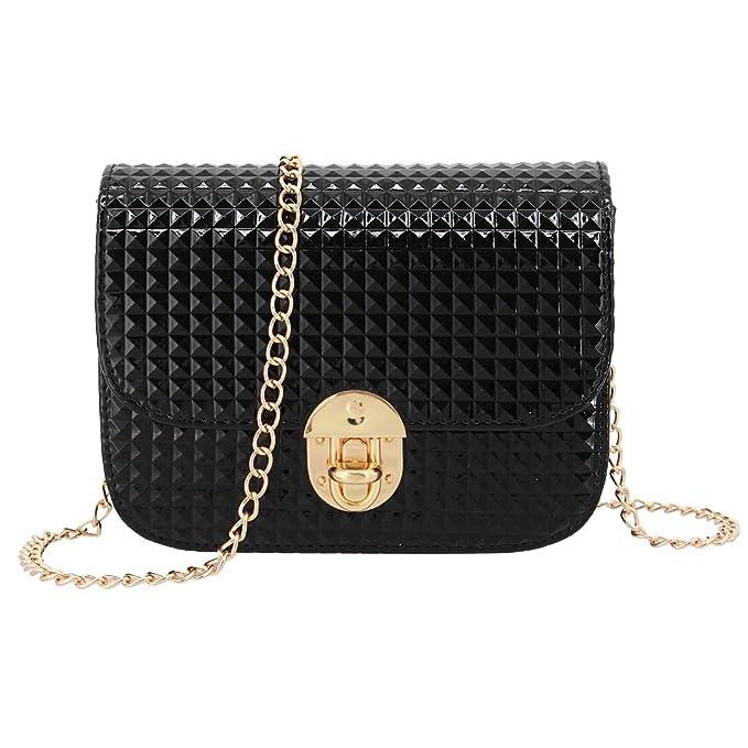 4bf21cab5c27 Candice Women Shiny Hologram Holographic Crossbody Bag Shoulder Bag Handbag  Shopping Bag Purse(Black)