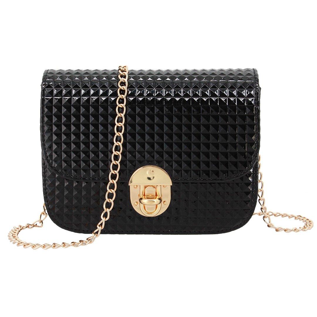 Candice Women Shiny Hologram Holographic Crossbody Bag Shoulder Bag Handbag Shopping Bag Purse(Black)