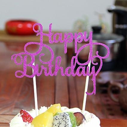 Autumn Water Happy Birthday Cake Topper Acrylic Elegant Party Decorations Kids Supplies Decor