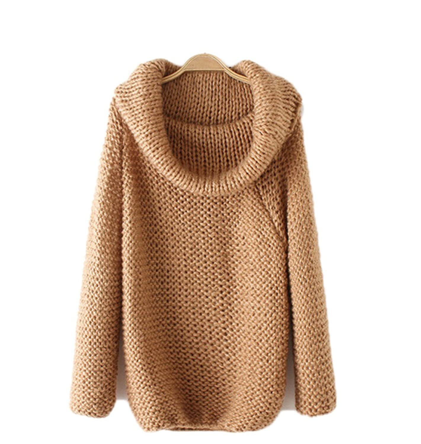 D.Catman Womens Casual Autumn Wide-lapel Loose Knit Batwing Sleeve Solid Sweater