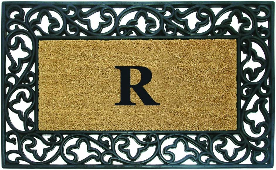 Nedia Home Acanthus Border with Rubber/Coir Doormat, 30 by 48-Inch, Monogrammed R