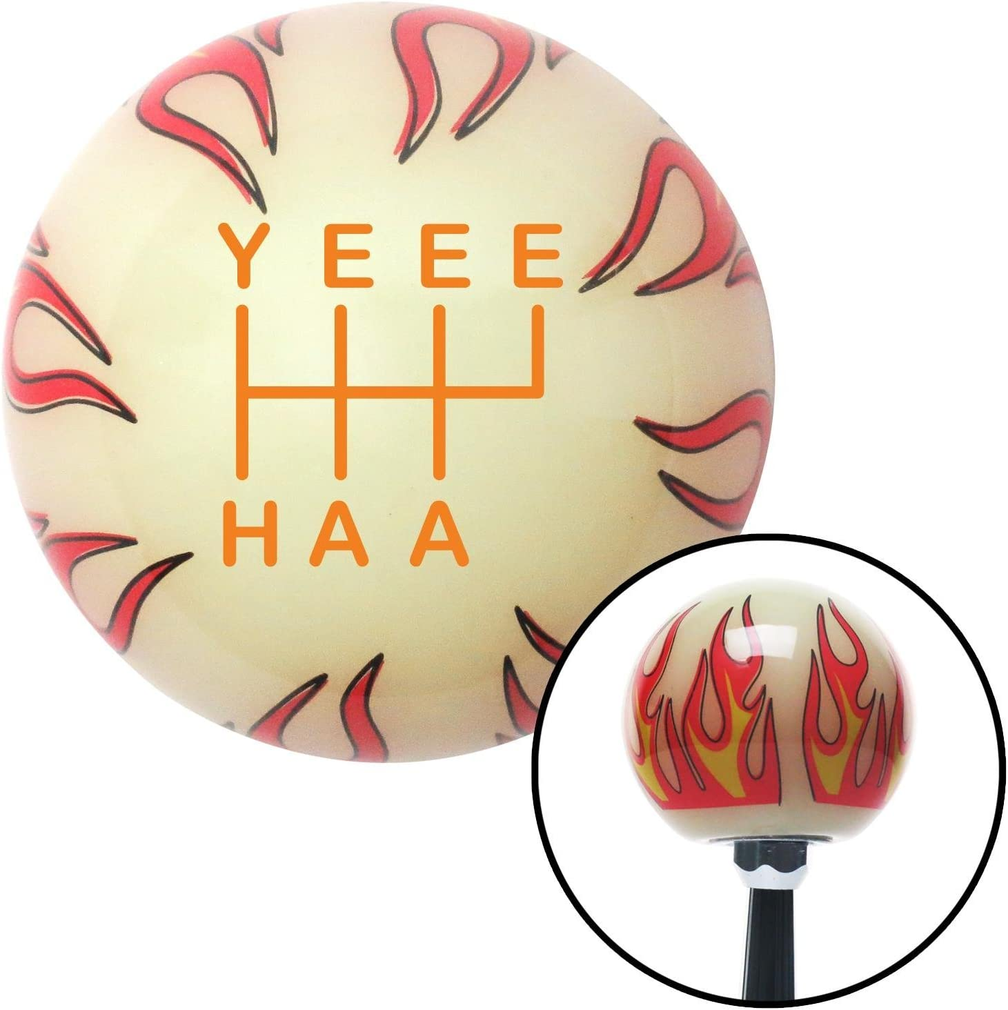 American Shifter 302195 Shift Knob Orange YeeeHaa 6 Speed RUR Ivory Flame with M16 x 1.5 Insert