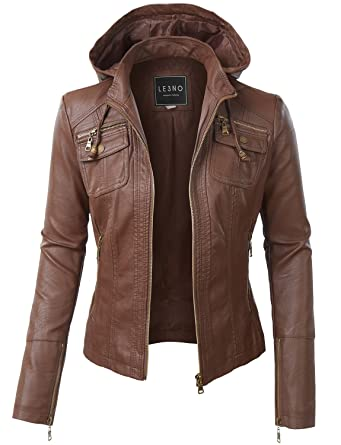 LE3NO Womens Faux Leather Zip Up Moto Biker Jacket With Hoodie at ...