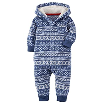 Amazon.com: Carters Baby Boys Fair Isle Hooded Fleece Jumpsuit ...