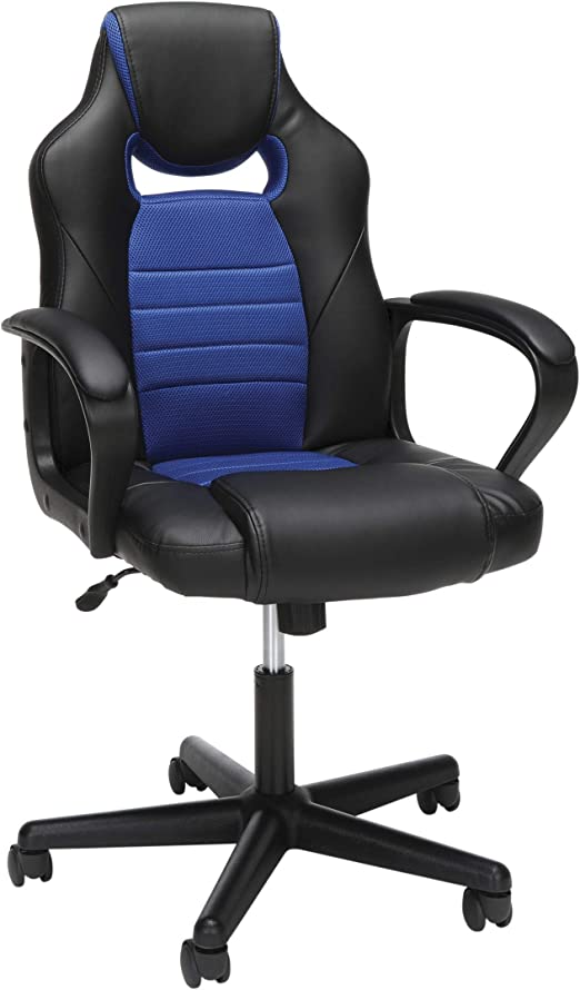 Amazon Com Ofm Essentials Collection Racing Style Gaming Chair In Blue Furniture Decor