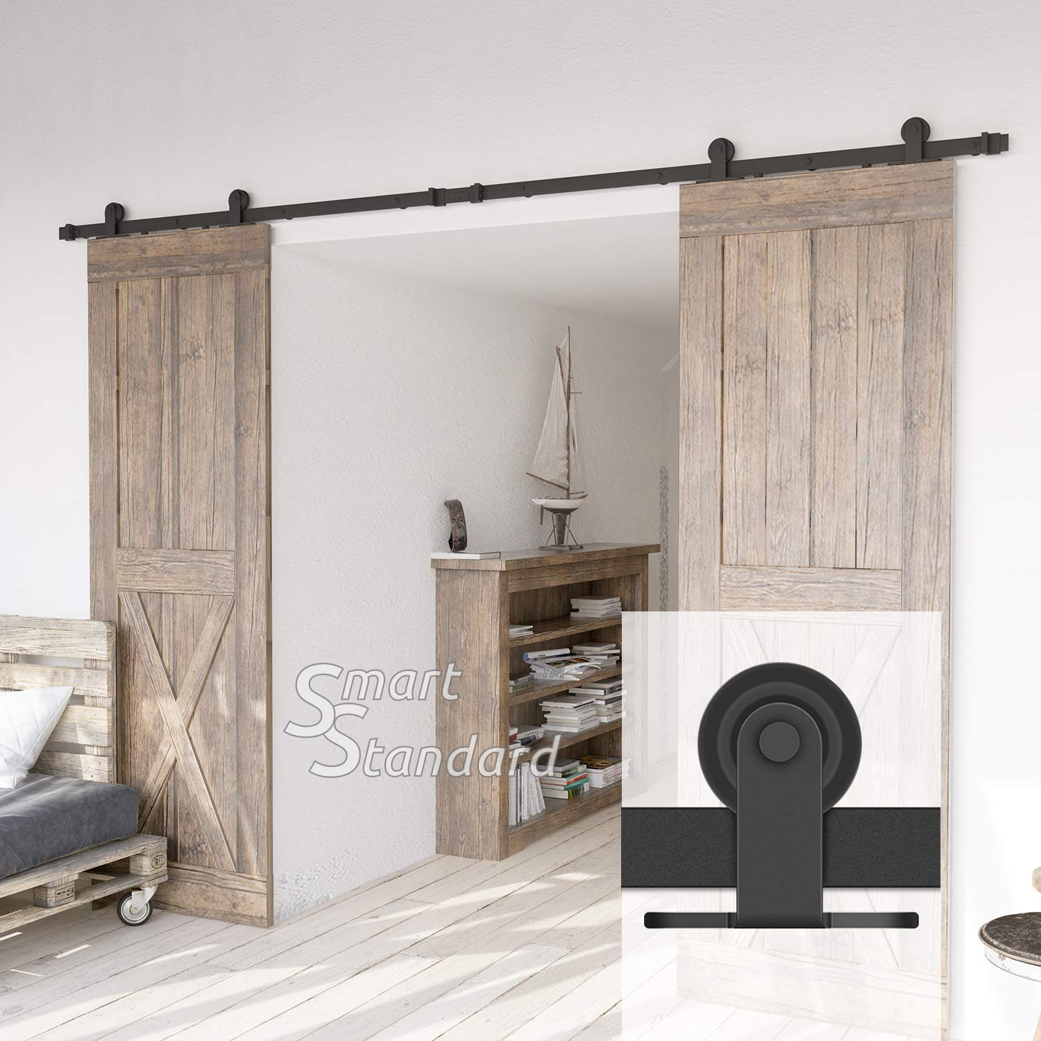 10ft Heavy Duty Sturdy Double Door Sliding Barn Door Hardware Kit - Super Smoothly and Quietly - Simple and Easy to Install - Includes Step-by-Step Instruction -Fit 30'' Wide Door Panel(T Shape Hanger)