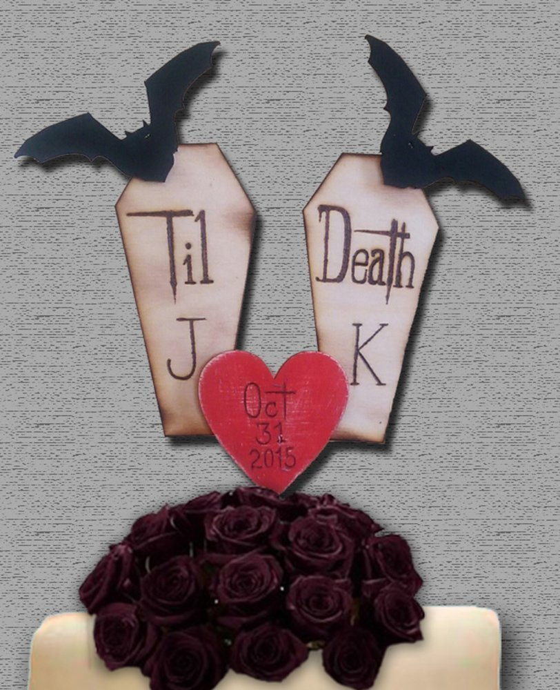 Halloween Wedding Cake Topper Bats Coffin