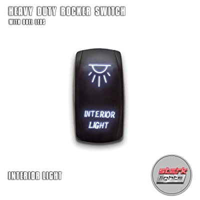 INTERIOR LIGHTS - White - STARK 5-PIN Laser Etched LED Rocker Switch Dual Light - 20A 12V ON/OFF: Automotive