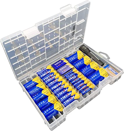 Clear Battery Storage Case Fits AA C and 9-Volt Batteries Stores and Organizes Batteries in a Hard Home-X AAA D See-Through Case for Easy Access