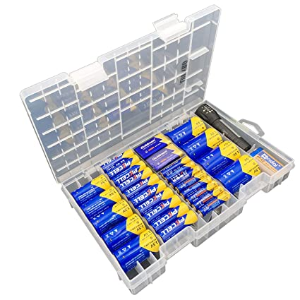 premium selection 4390c abfdb Battery Organizer Storage case for 68pcs Battery Holds, AA, AAA, C, D, 9  Volt Sizes and Button Battery Storage Box, Great Storage fordrawer, Home ...