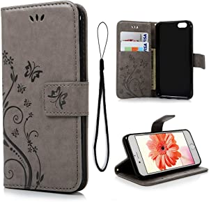 MOLLYCOOCLE iPhone 6, iPhone 6s Case 4.7 inch Natural Luxury Gray Stand Wallet Purse Credit Card ID Holders Magnetic Flip Folio TPU Soft Bumper PU Leather Ultra Slim Cover for iPhone 6, iPhone 6s