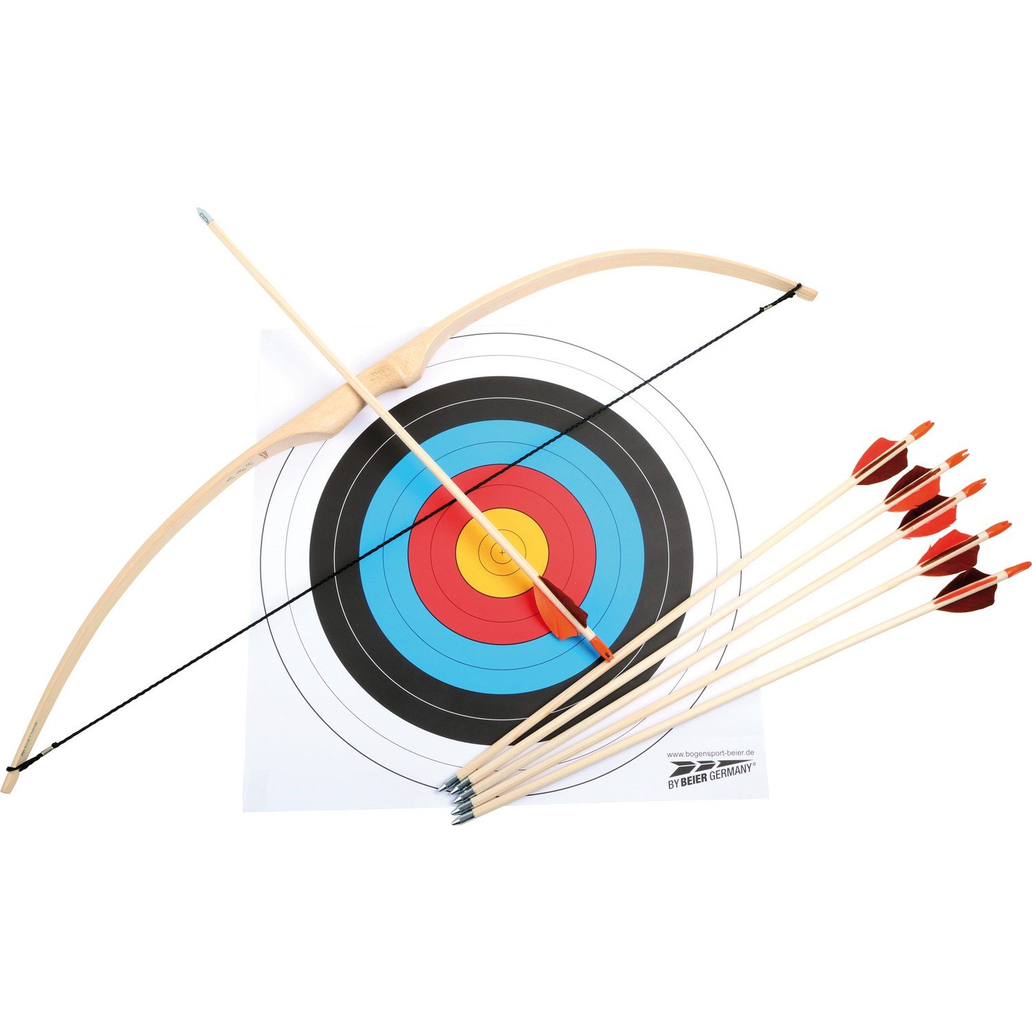 Small foot 6743 wooden bow and arrow archery set, incl. bow, 6 arrows and target, 6 years and older