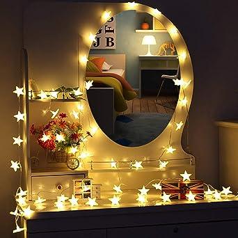 Cadena de luz,5 m, 40 LEDs, guirnalda de estrellas LED, uso