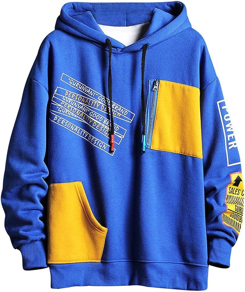 Deluxe GURUNVANI Color Block Fleece Max 48% OFF Hoodie Contrast Design Men Pu