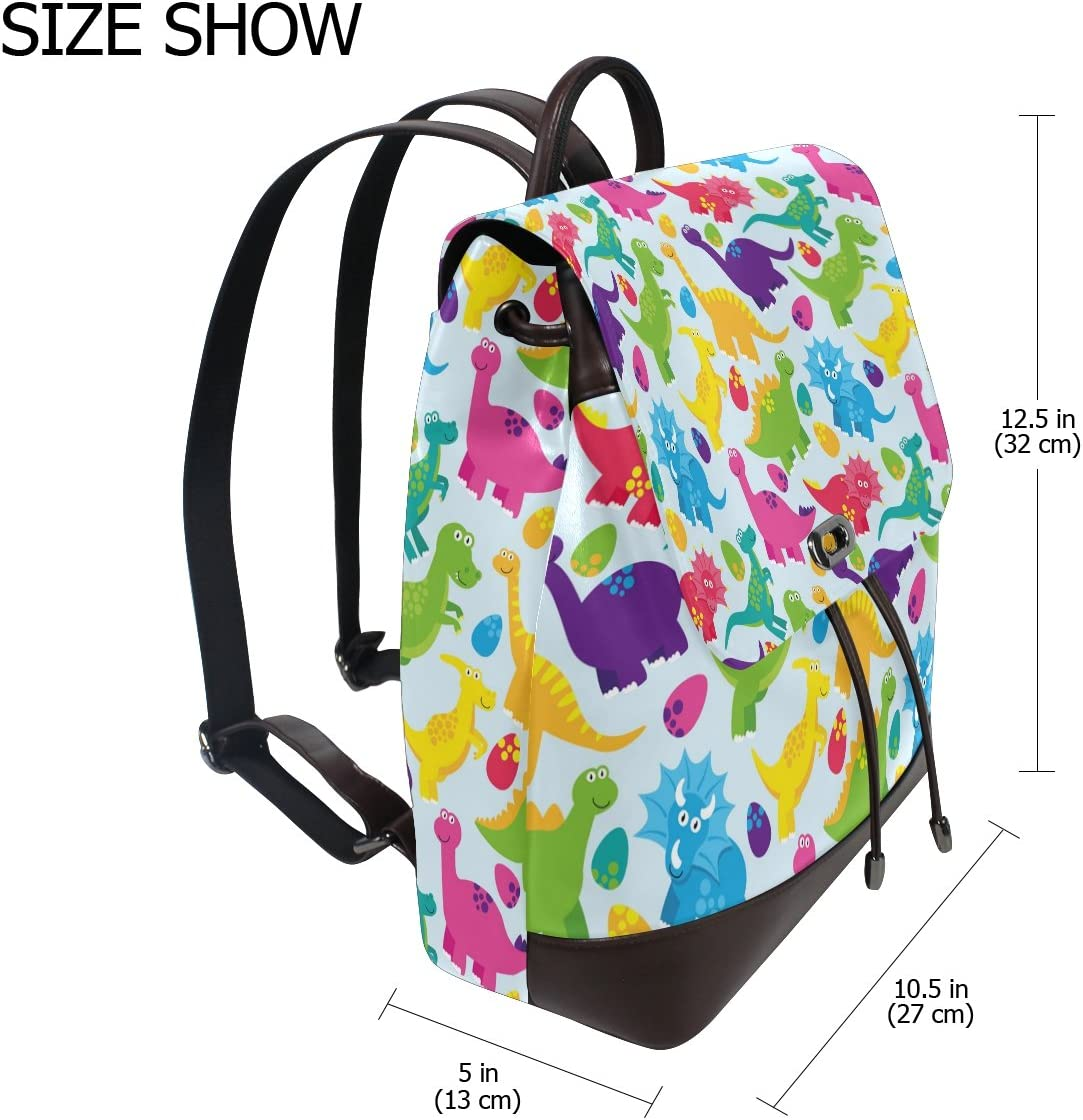 KUWT Dinosaurs PU Leather Backpack Travel Shoulder Bag School College Book Bag Casual Daypacks Diaper Bag for Women and Girl