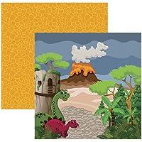 Kit Folhas para Scrapbook DF Coleções Dinossauros Paisagem, Toke e Crie SDF695, Multicor, Pacote de 12