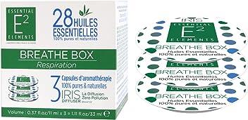 E2 Breathe Box Trio de Capsules aux 28 Huiles Essentielles naturelles RESPIRATION - Diffuseur IRIS