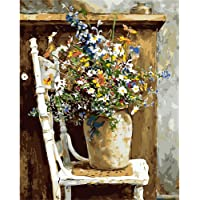 "BAISITE DIY Paint by Numbers for Adults,16""Wx20""L Canvas Pictures Drawing Paintwork with Paintbrushes,Acrylic Pigment…"