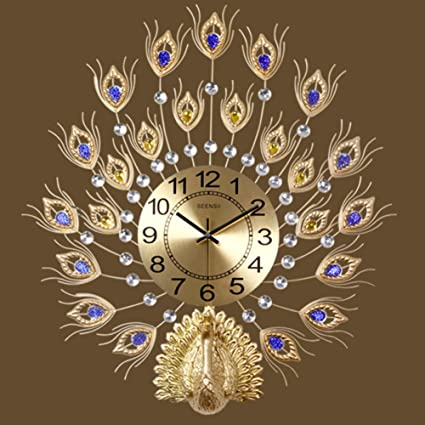 Amazon.com: SE7VEN The peacock clock,Wall clocks large decorative European style Living rooms Clocks Household Silent Quartz Large wall clock-D ...