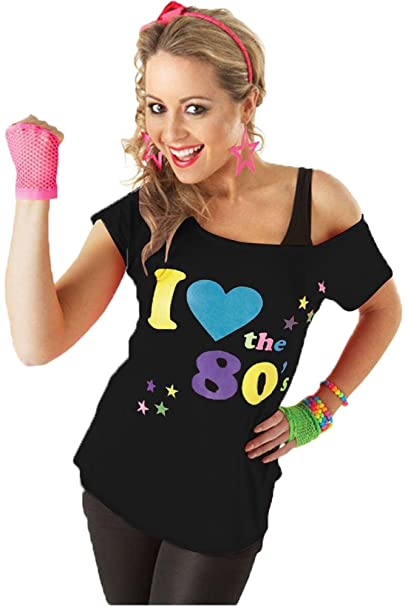 fbe0d8cbecbbb Candid Styles Womens I Love The 80s Printed Off Shoulder Bardot Retro  Popstar T Shirt Top 8-22  Amazon.co.uk  Clothing