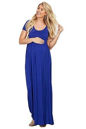 582a60d4db9f1 PinkBlush Maternity Royal Blue Solid Short Sleeve Maternity Maxi Dress,  Small