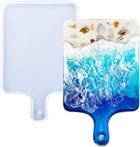 Resin Silicone Tray Molds, Casting Mold for Epoxy Resin, DIY Resin Large Serving Rectangle Shape Handle Board for Home Decoration-Crafting Agate Geode Rolling Tray