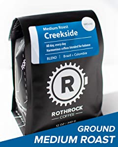 Creekside Blend - Ground Coffee - Medium Roast - 12oz Specialty Bag - All Day Every Day - Outdoors Inspired - Premium Roasted by Rothrock Coffee