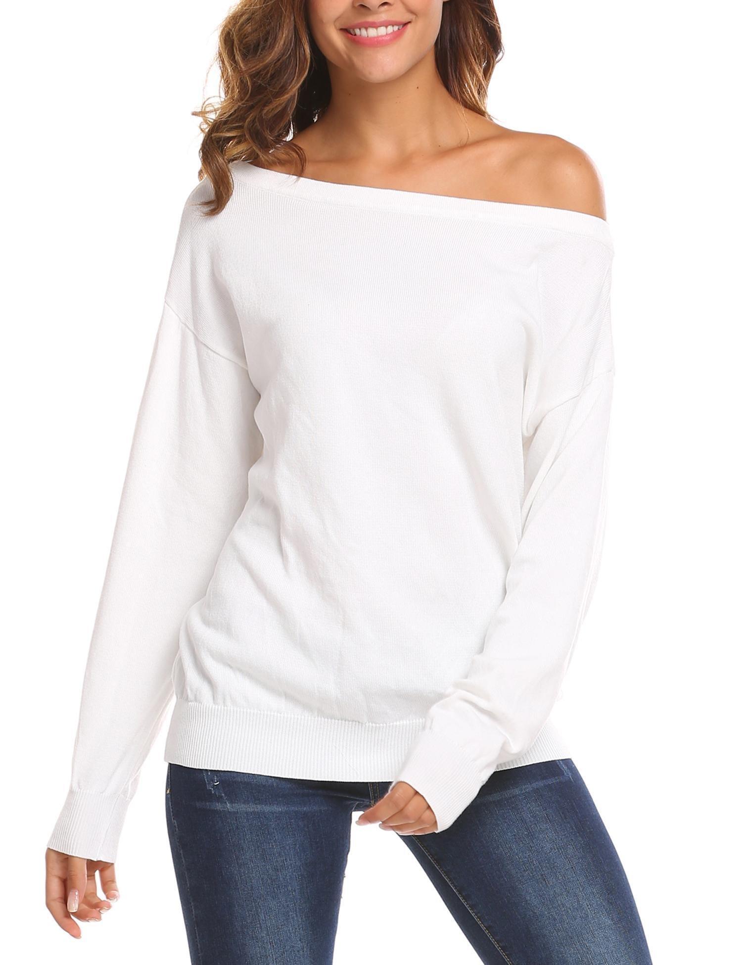 SoTeer Women Warm Long Sleeve Sweater Fashion Dressy Off Shoulder Sweat Shirt Tops White M