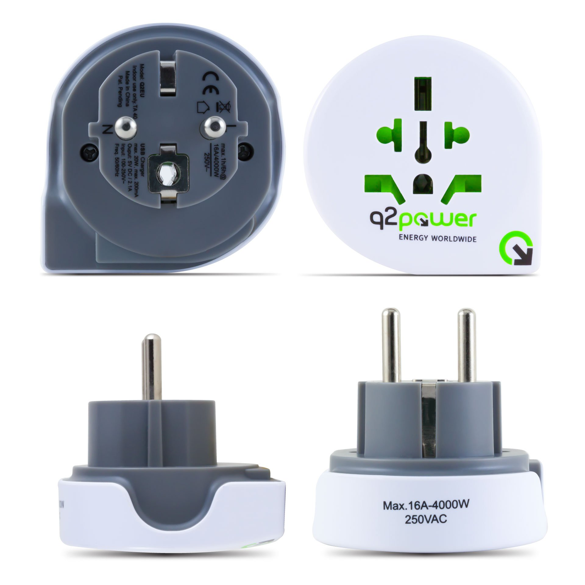 World to Europe Travel Adapter by Q2Power | For Type F Schuko Outlets | Grounded & Safe | Works with Laptops, Computers, Smartphone Chargers, Portable Devices | Perfect for International Trips by q2power (Image #5)