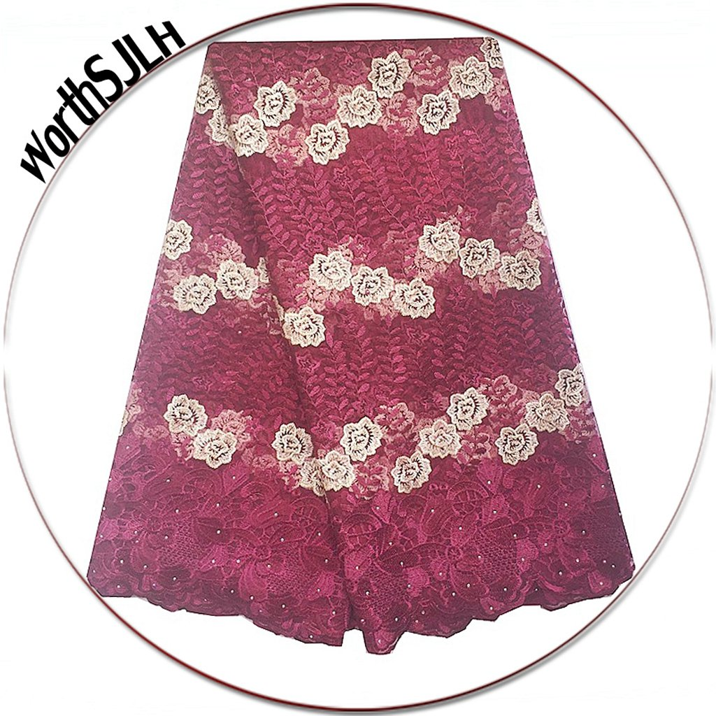 Amazon.com  WorthSJLH 5 Yards African Net Lace Fabric Nigerian French Lace  Fabric 2019 Beaded French Tulle Lace for Wedding Dress LF811(Burgundy) 1fd5e3ae00d9